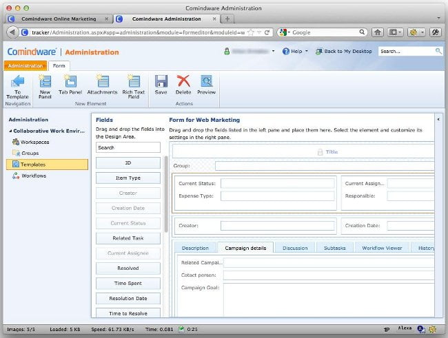 Comindware administration interface