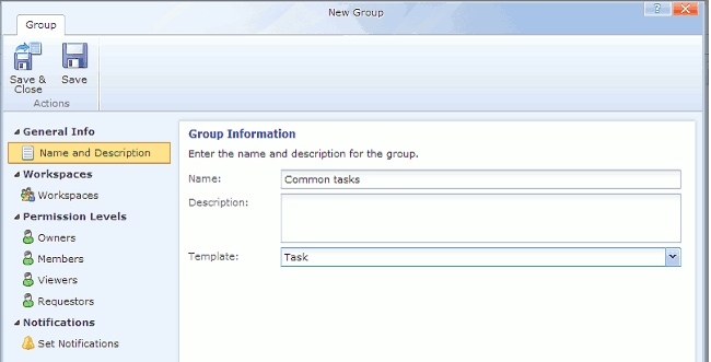 Create task group in Comindware
