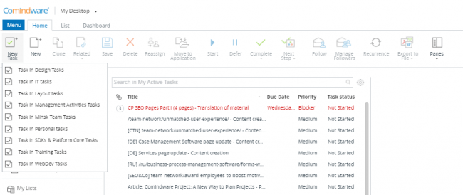 Multiple tasks with Comindware