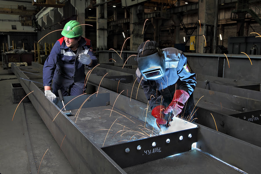 Process Gas Welding At Plant For Production Of Bridge Structures