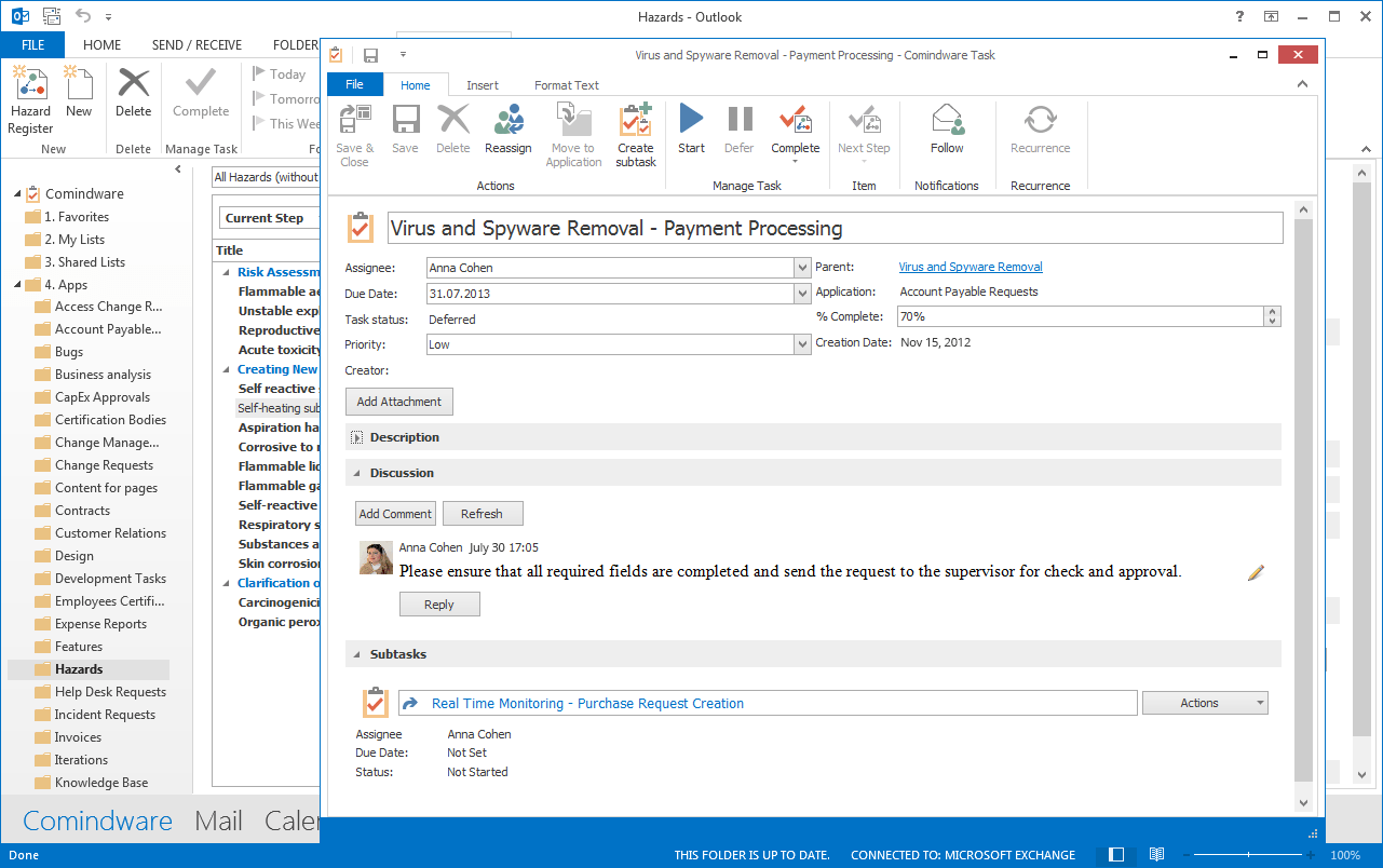 Workflow App for MS Outlook